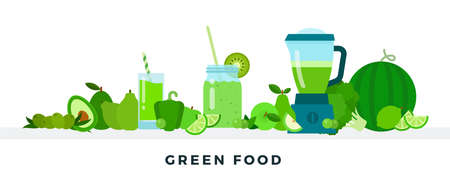 Green food vector flat illustrations. Full of vitamins healthy eating concept. Illusztráció