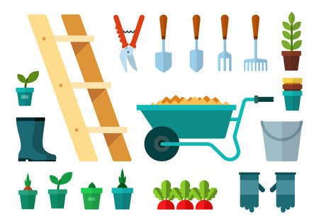Set of Garbage and Garden icons flat vector