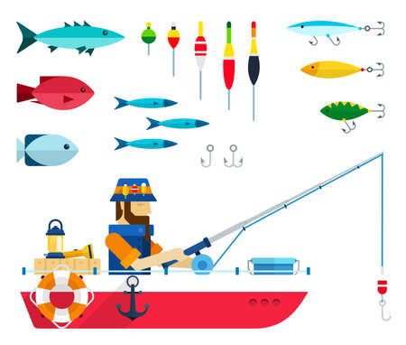 Set of varieties of fish, floats, hooks and fisherman with fishing rod in a boat vector illustration Ilustrace