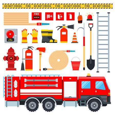 Set of Firefighter icons flat vector Illustration