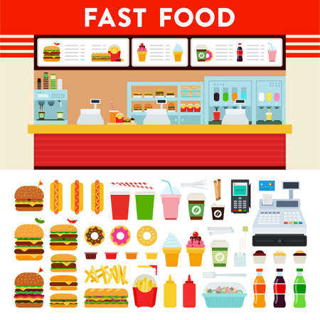 Fast food restaurant and set menu vector icon flat isolated.