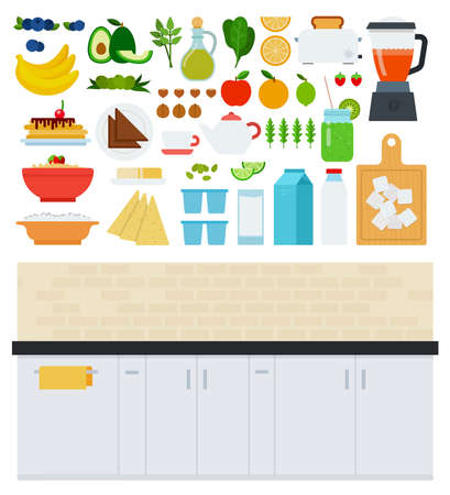Kitchen and Food icons flat vector