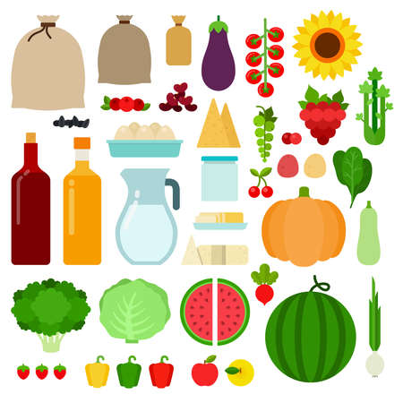 Set of Farm products icons flat vector Illusztráció