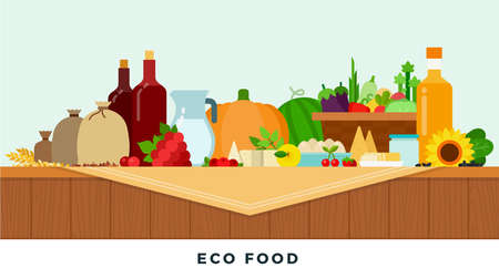 Set of eco food on the table vector flat illustration. Illusztráció