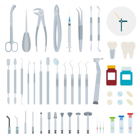 Set of Stomatology and Dental tools flat vector illustration on white. Stock Illustratie