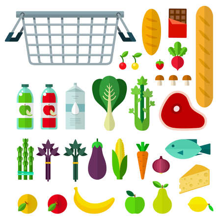 Food basket with food vector flat illustration. Set with cheese, fish, meat, milk, asparagus, mushrooms, bread, chocolate for website shop. Isolated on white background. Illusztráció