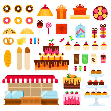 Confectionery shop and sweets vector flat illustration. Set with croissant, gift box, cakes, tea, cupcakes, cake pops for website shop. Isolated on white background.