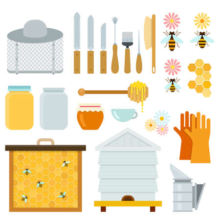 Honey and beekeeping equipment vector flat material design set. blade, brush, honey spoon, gloves, smoker, hive, honey comb, face shield, knife bee, bank isolated illustration on white background. Ilustrace
