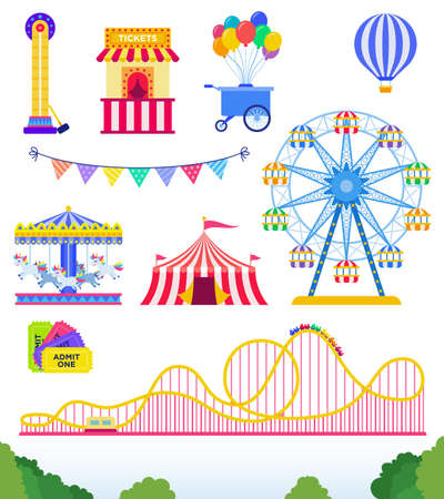 Set of Amusement park, circus. flat vector illustration on white.