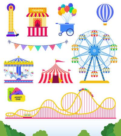 Set of Amusement park, circus. flat vector illustration on white.