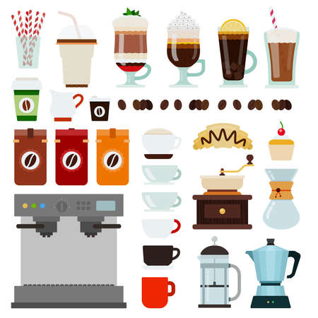 Set of Coffee shop icons flat vector illustration