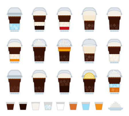 Set of Ice Coffee, drink icons flat vector illustration Иллюстрация