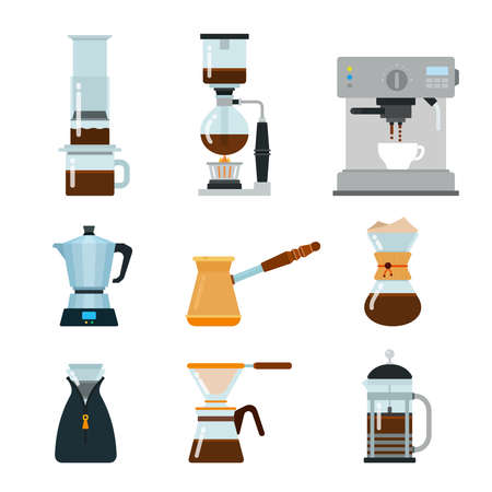 Set of Making coffee tools icons flat vector illustration