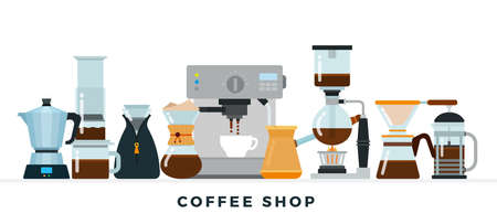 Coffee shop collection vector illustration in flat design. Different equipment for coffee preparing. Coffee machine, french press, pourover, cezve or ibrik isolated on white backdrop. Иллюстрация