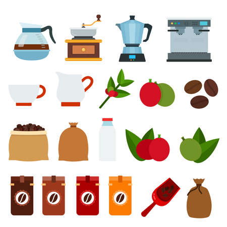 Set of Coffee drink icons flat vector illustration
