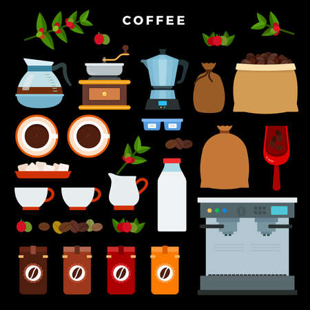 Coffee store flat style vector illustration. Shop, coffee-machine, kettle, bag of beans, tree, cups and mill against a dark theme background. Иллюстрация