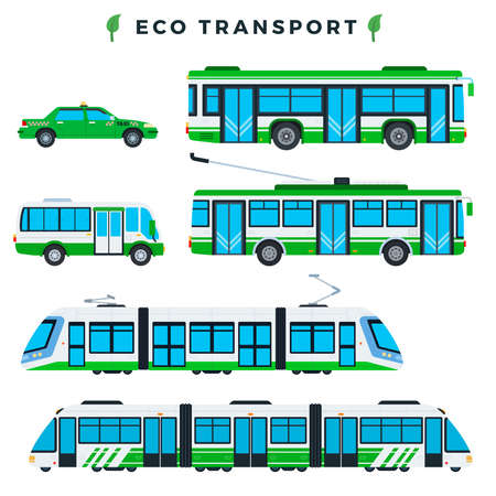 Public eco transport. Municipal city ecologically clean transport. Eco electric automobiles. Eco-friendly transportation: bus, trolleybus, tram, train, taxi, minibus. Vector illustration.
