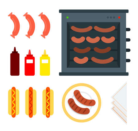 Spit for hot dogs vector flat material design object. Isolated illustration on white background.