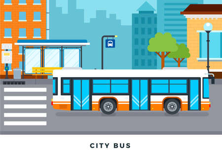 Public bus, lamp post, public transport stop with bench, urn, bus stop sign, trees, ??buildings, crosswalk and bus schedule in the city vector flat illustration.