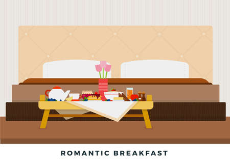 Double bed and a bouquet of flowers in a vase, tea, honey, juice, lemon, cereal, pancakes and berries on a wooden table for breakfast around the bed vector flat material design isolated on white Vecteurs