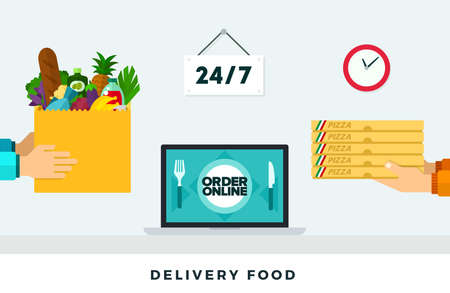Delivery food around the clock. Vector flat illustration. Fast food delivery through the application Иллюстрация