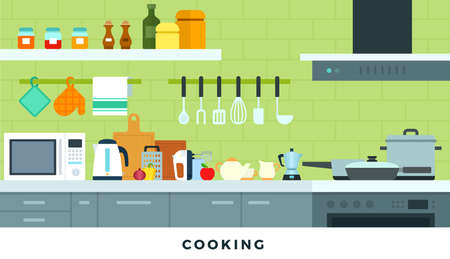 Cooking appliances in the kitchen vector flat illustration.