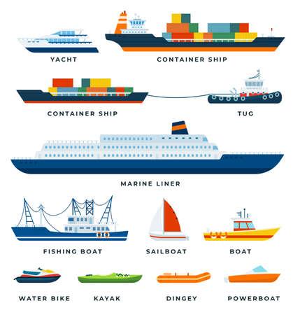 Set of Boats, Ship, Yacht, Sail flat vector illustration.