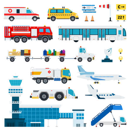 Airport transportation vector flat material design set. Fire engine, ambulance, ladder, passenger bus, automotive fuel, baggage car, tower control room, aircraft, satellite antenna isolated on white. Иллюстрация