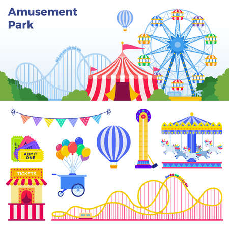 Colorful attractions in the amusement park vector illustration in flat design Иллюстрация