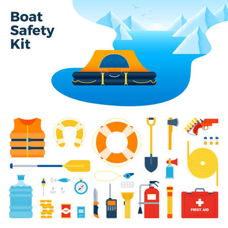 Image from inflatable floating tent and boat safety kit vector illustration in a flat design.