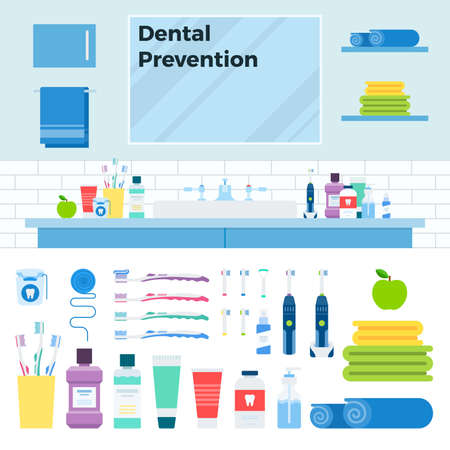 Image with dental prevention kit in the bathroom vector illustration in a flat design.
