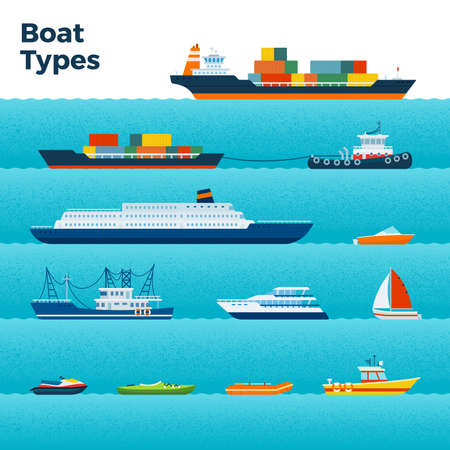 Set of different types of boats on blue waves vector illustration in a flat design.