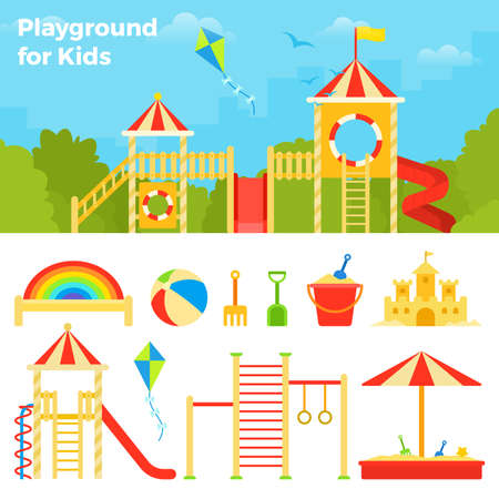 Childrens play complex against the backdrop of the cityscape vector icon flat isolated illustration