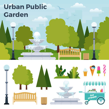 Beautiful urban public garden with a fountain vector icon flat isolated illustration Иллюстрация