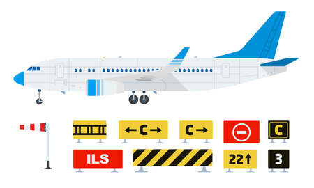 Set of warning prohibiting road signs and airplane vector flat icon isolated