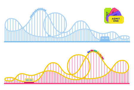 Collection of roller coasters in amusement park vector flat icon isolated