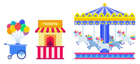 Set of cart with balloons, ticket kiosk and carousel with horses vector illustration in flat design