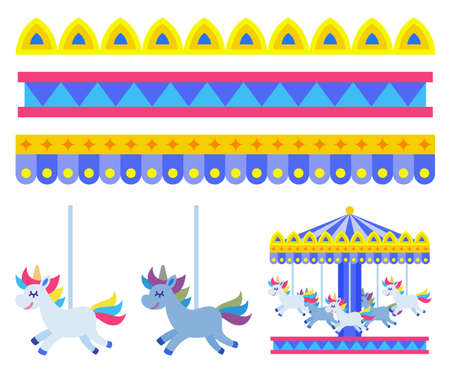 Carousel with horses for children in an amusement park vector illustration in flat design Ilustracje wektorowe