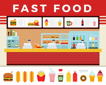 Fast food restaurant interior vector illustration. Fast food hamburger dinner and restaurant, tasty set fast food many meal and unhealthy vector flat set illustration Ilustracje wektorowe