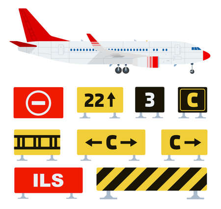 Airport traffic signs red, yellow, black colors indicating warning, restricting traffic at the airport vector illustrations isolated on white