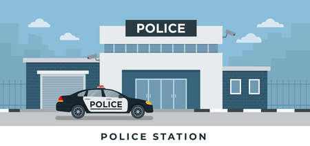 Police station department building with police car in flat style isolated on white background vector set illustration
