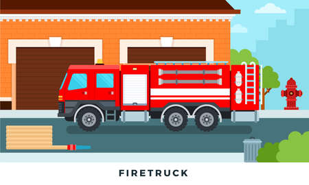 Fire engine truck emergency vehicle in modern vector flat set illustration. Staff and fire trucks in front of station
