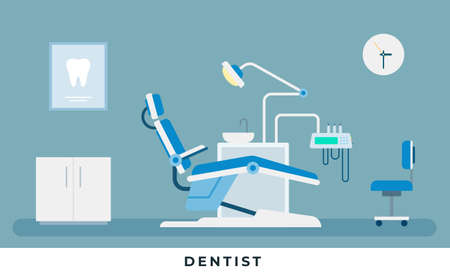 Medicine dental concept. Medical dental infographic. Dentist office with stomatology doctor workplace with professional equipment for tooth care. Vector illustrations and icons