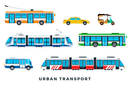 Public city transport. City cars and vehicles transport. Urban transportation icons set. Vector flat set illustration