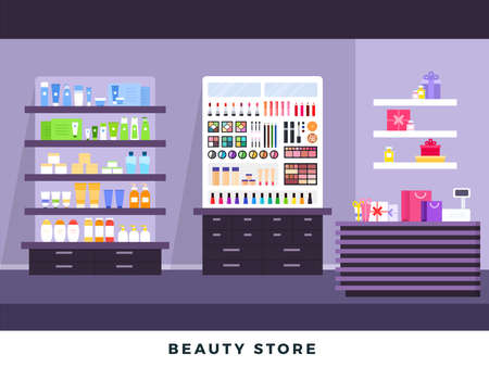 Cosmetics store interior with make up objects, shopping, beauty shop, cosmetic products, health and beauty with products on shelves. Vector flat set illustration