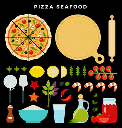 Pizza with seafood and all ingredients for cooking it. Make your pizza. Set of products and tools for pizza making. Vector illustration on dark background
