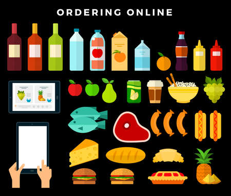 Online ordering products from the store on dark background