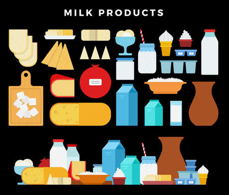Milk products icon set. Milk and cheese showcase, store shelf. Farm foods on dark background Иллюстрация