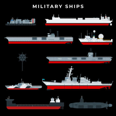 Warship set with boat, vessel, craft, battleship, military, armed, navy. Isolated on black background. Dark theme concept