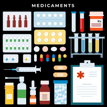 Medicine and Pharmacy. Bottles with drugs and pills in blisters. Buy medicaments and drugs online on dark background